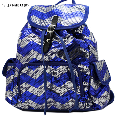 LUSQ45-BLUE-SLV - WHOLESALE BACKPACKS-SEQUIN CHEVRON PRINT