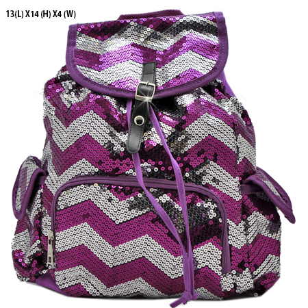 LUSQ45-D-PUR-SLV - WHOLESALE BACKPACKS-SEQUIN CHEVRON PRINT