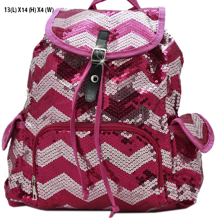 LUSQ45-HTPK-SLV - WHOLESALE BACKPACKS-SEQUIN CHEVRON PRINT