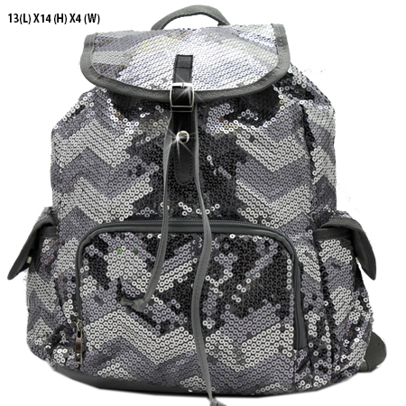 LUSQ45-DK-SLV - WHOLESALE BACKPACKS-SEQUIN CHEVRON PRINT