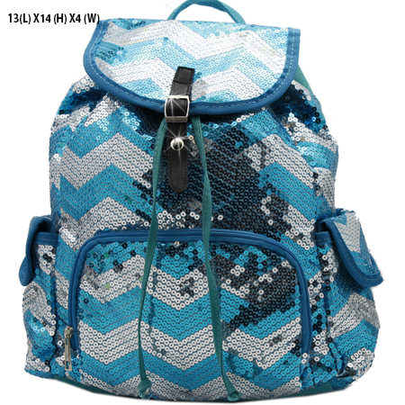 LUSQ45-TURQ-SLV - WHOLESALE BACKPACKS-SEQUIN CHEVRON PRINT