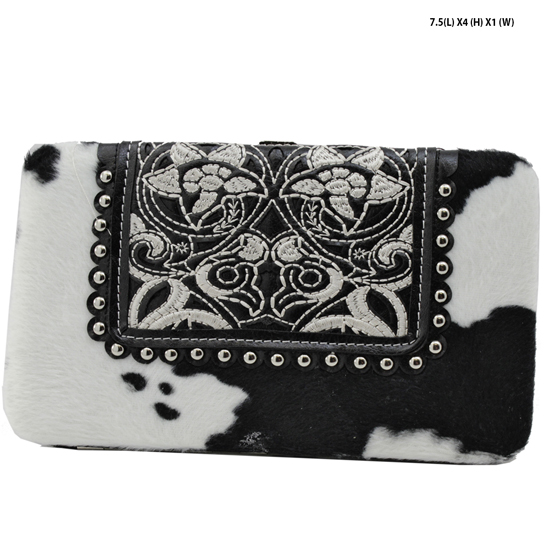 COW-MC-23-BLK-WT - COW-MC-23-BLK-WT RHINESTONE STUDDED FLAT FRAME WALLETS
