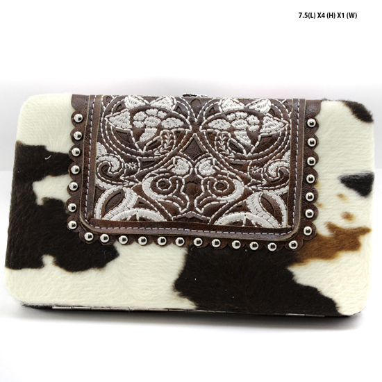 COW-MC-23-BROWN - COW-MC-23-BROWN RHINESTONE STUDDED FLAT FRAME WALLETS