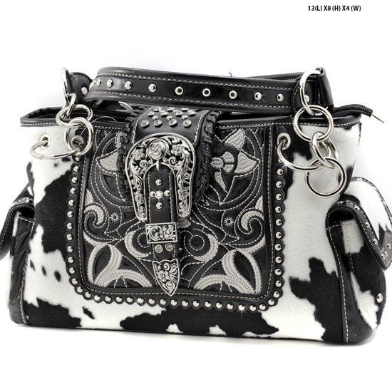 COW-MC-93-BLK-WT - WHOLESALE WESTERN BUCKLE PURSES CONCEALED CARRY WEAPON HANDBAGS
