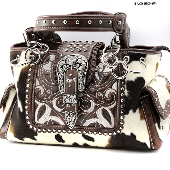 COW-MC-93-BROWN - WHOLESALE WESTERN BUCKLE PURSES CONCEALED CARRY WEAPON HANDBAGS