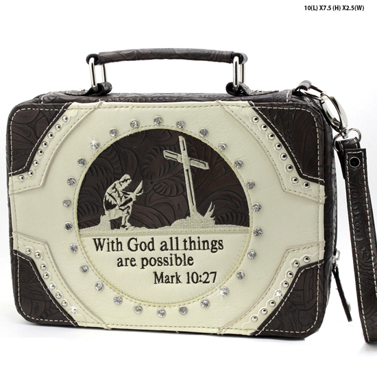 MR-221-BONE - WHOLESALE BIBLE COVERS/ RHIENSTONE CROSS BIBE CASES