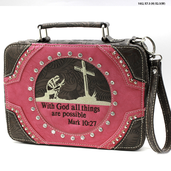 MR-221-PINK - WHOLESALE BIBLE COVERS/ RHIENSTONE CROSS BIBE CASES