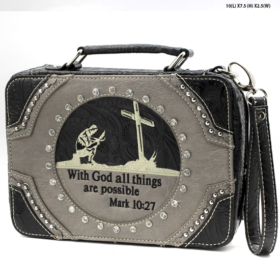 MR-221-PEWTER - WHOLESALE BIBLE COVERS/ RHIENSTONE CROSS BIBE CASES
