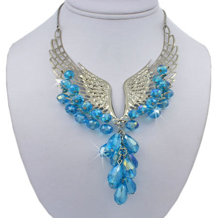NKL-WINGS-TURQ - WHOLESALE GENUINE CRYSTAL AND GLASS NECKLACE