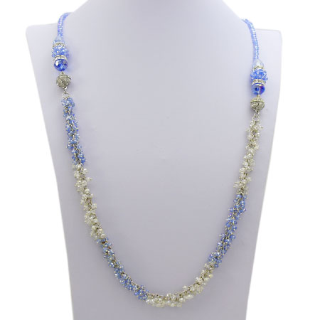 NAC2-BLUE-MULTI - WHOLESALE GENUINE CRYSTAL AND GLASS NECKLACE