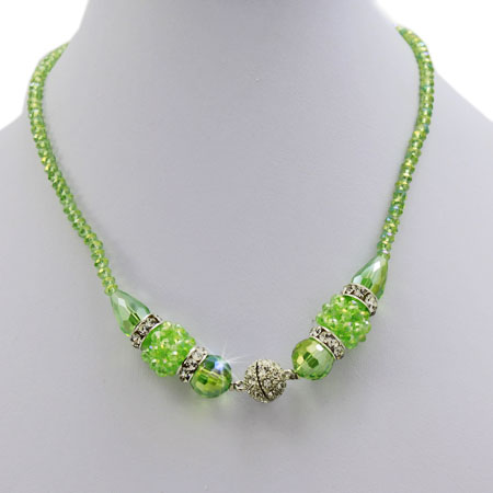 NAC2-GREEN - WHOLESALE GENUINE CRYSTAL AND GLASS NECKLACE