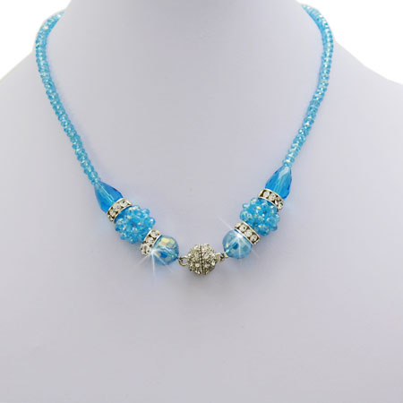 NAC2-BLUE-TURQ - WHOLESALE GENUINE CRYSTAL AND GLASS NECKLACE