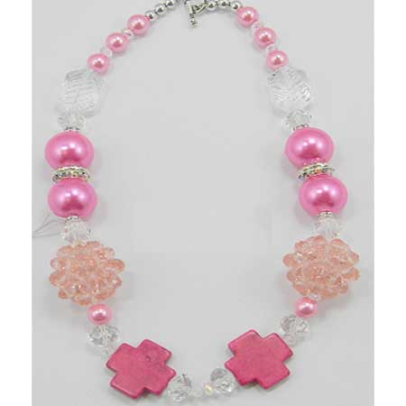 NK-0106-PINK - WHOLESALE TURQUOISE CHIP/GEMSTONE NECKLACE