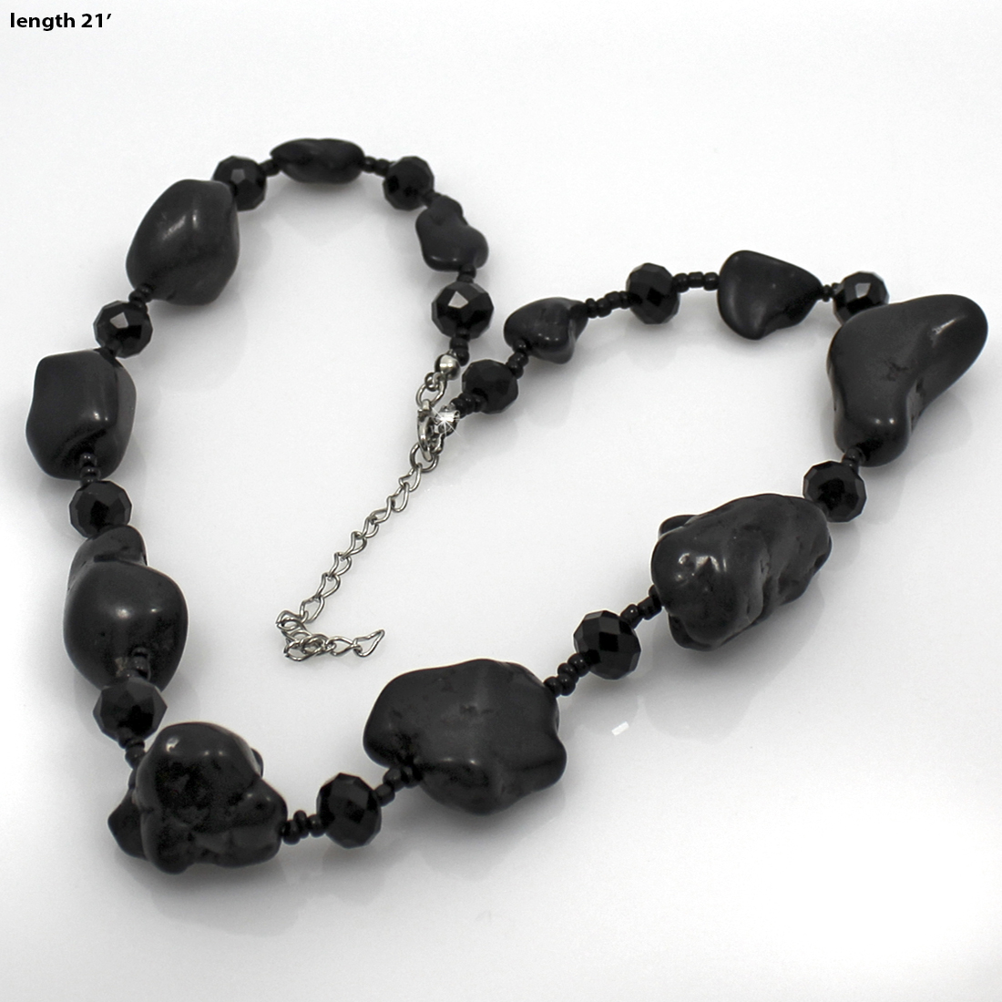 NKL01-BLACK - NKL01-BLACK WHOLESALE GENUINE CRYSTAL AND GLASS NECKLACE SET