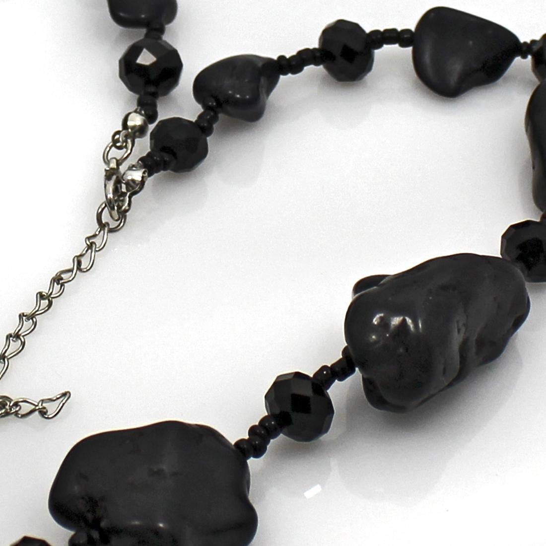 NKL01-BLACK - NKL01-BLACK WHOLESALE GENUINE CRYSTAL AND GLASS NECKLACE SET