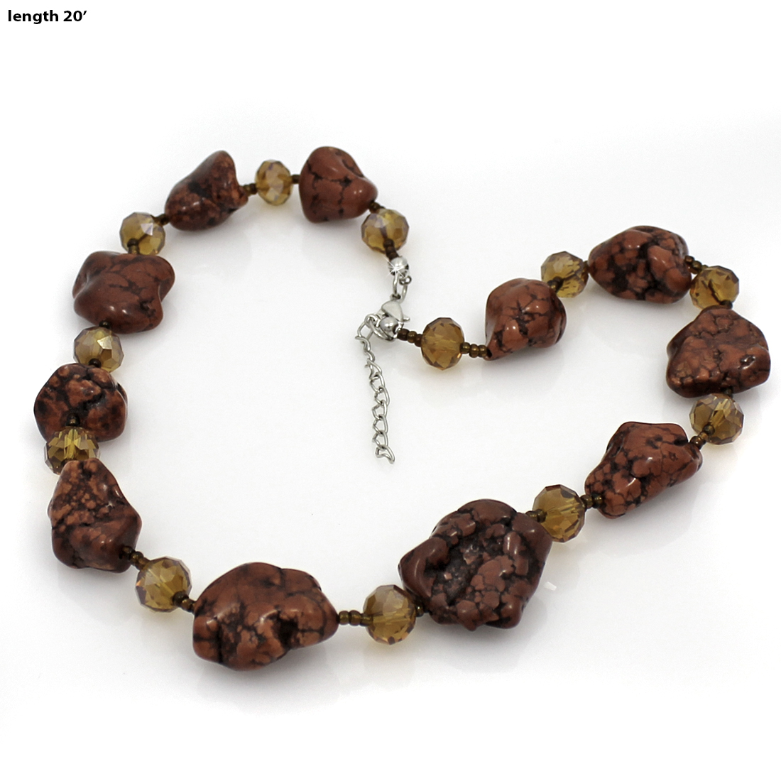 NKL01-BROWN - NKL01-BROWN WHOLESALE GENUINE CRYSTAL AND GLASS NECKLACE SET