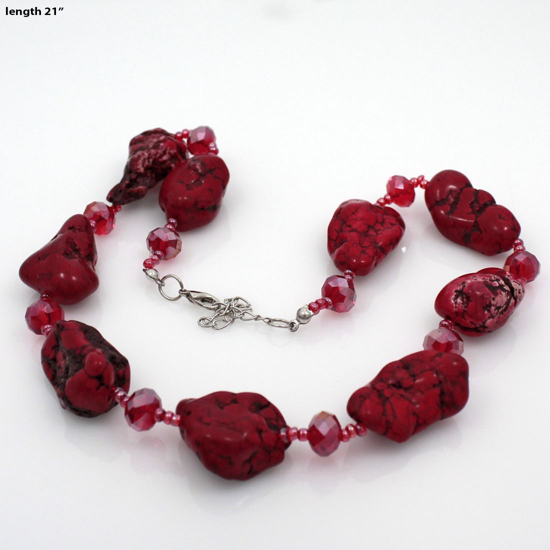 NKL01-RED - NKL01-RED WHOLESALE GENUINE CRYSTAL AND GLASS NECKLACE SET