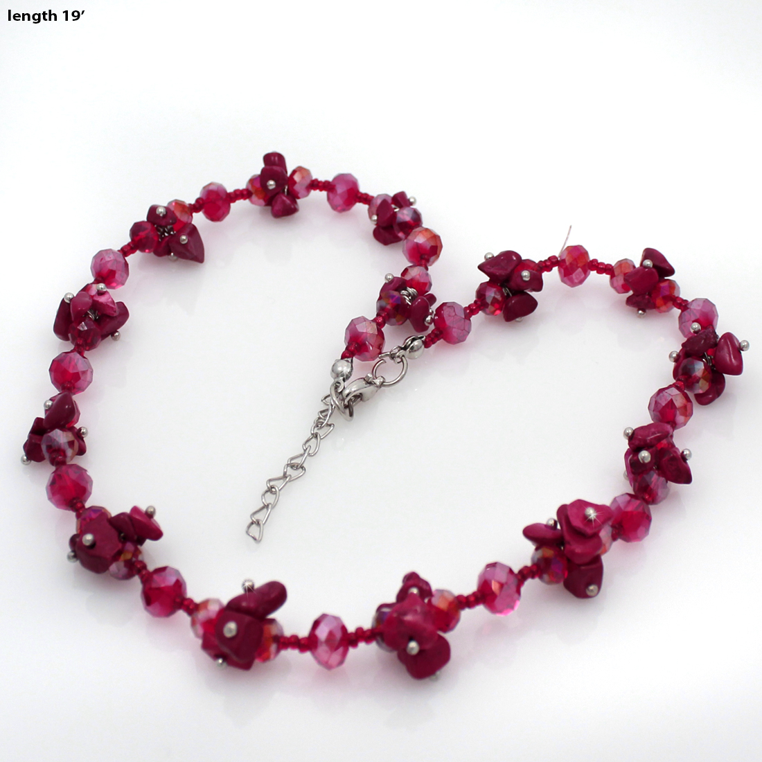 NKL02-RED - NKL02-RED WHOLESALE GENUINE CRYSTAL AND GLASS NECKLACE SET