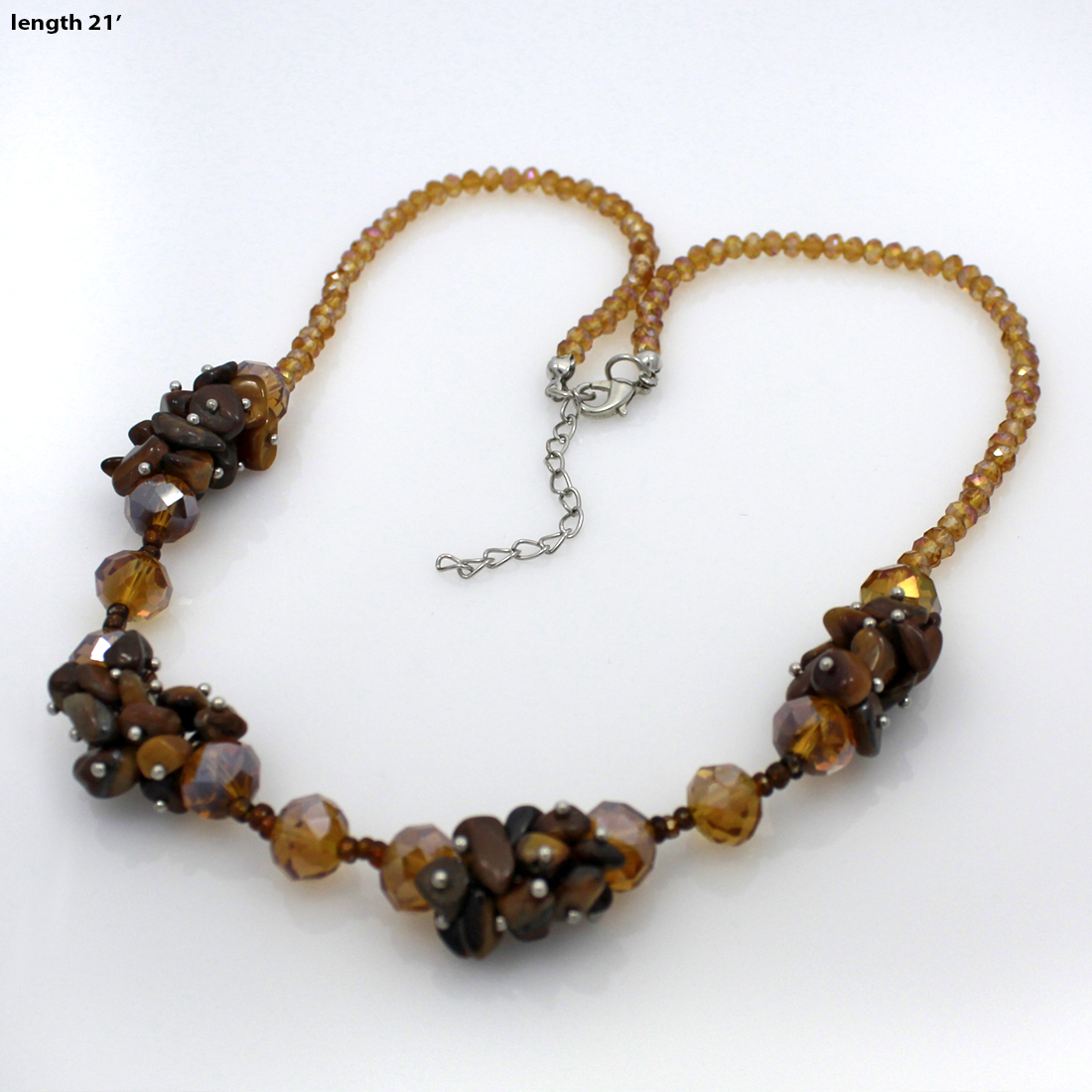 NKL02-BROWN - NKL02-BROWN WHOLESALE GENUINE CRYSTAL AND GLASS NECKLACE SET