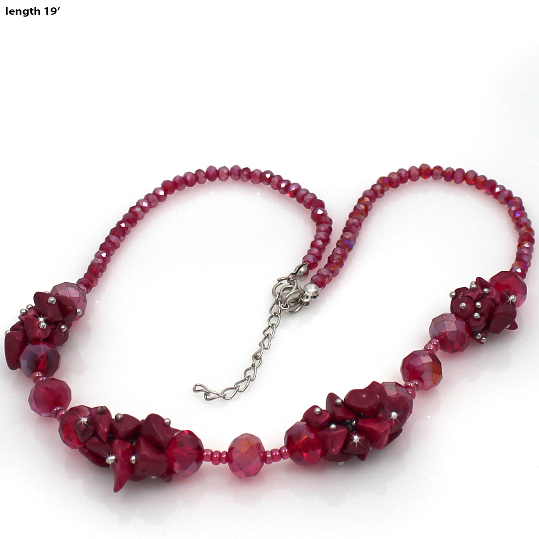 NKL03-RED - NKL03-RED WHOLESALE GENUINE CRYSTAL AND GLASS NECKLACE SET