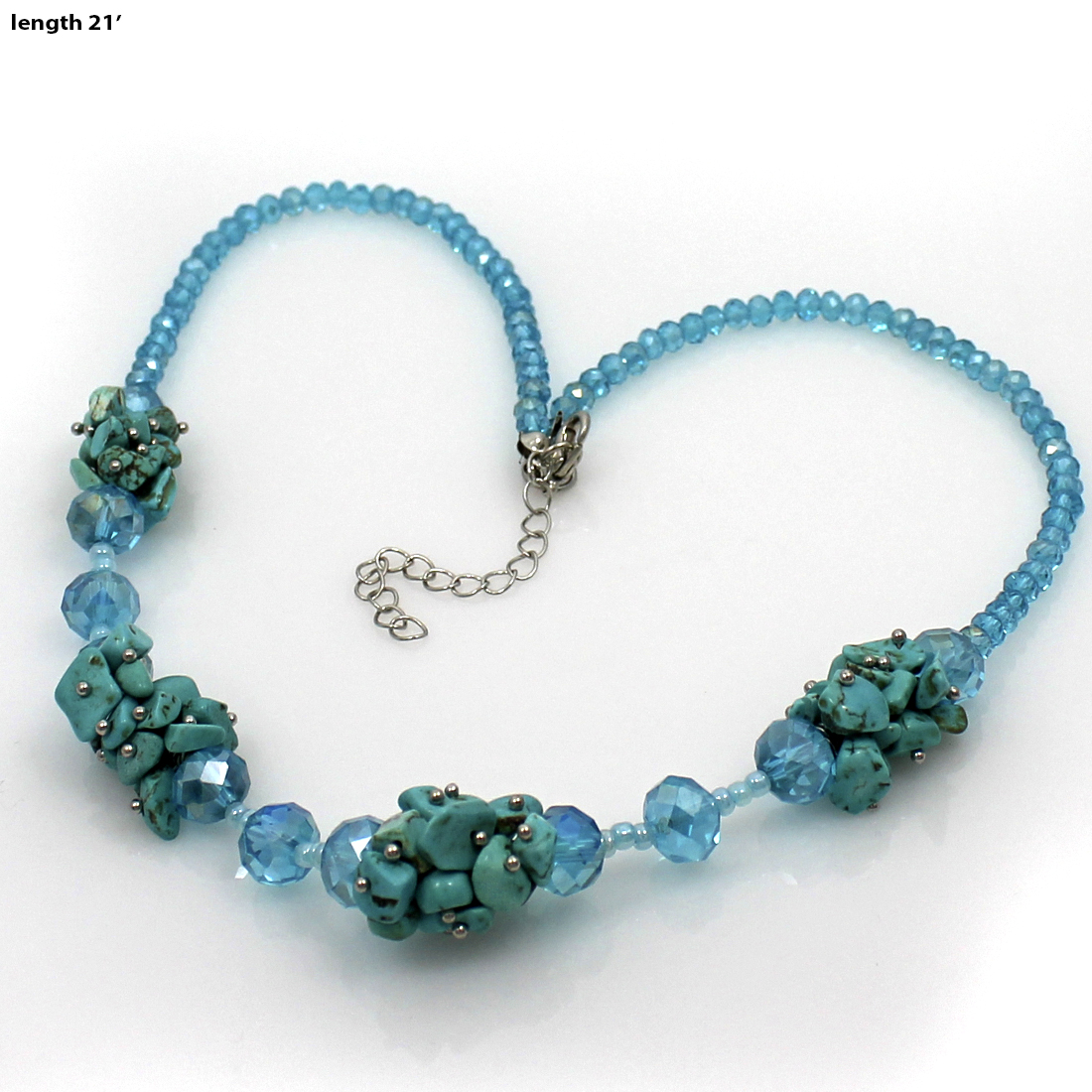 NKL03-TURQ - NKL03-TURQ WHOLESALE GENUINE CRYSTAL AND GLASS NECKLACE SET