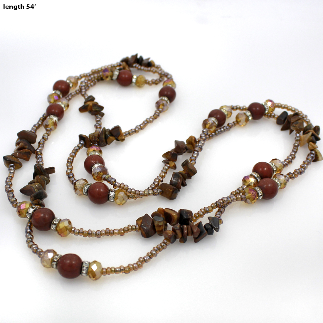 NKL04-BROWN - NKL04-BROWN WHOLESALE GENUINE CRYSTAL AND GLASS NECKLACE SET