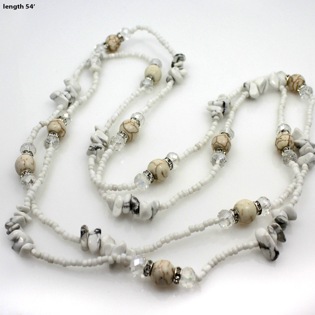 NKL04-WHITE - NKL04-WHITE WHOLESALE GENUINE CRYSTAL AND GLASS NECKLACE SET