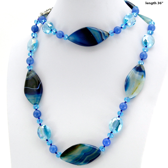 NKL-09-BLUE - WHOLESALE GENUINE CRYSTAL AND GLASS NECKLACE SET