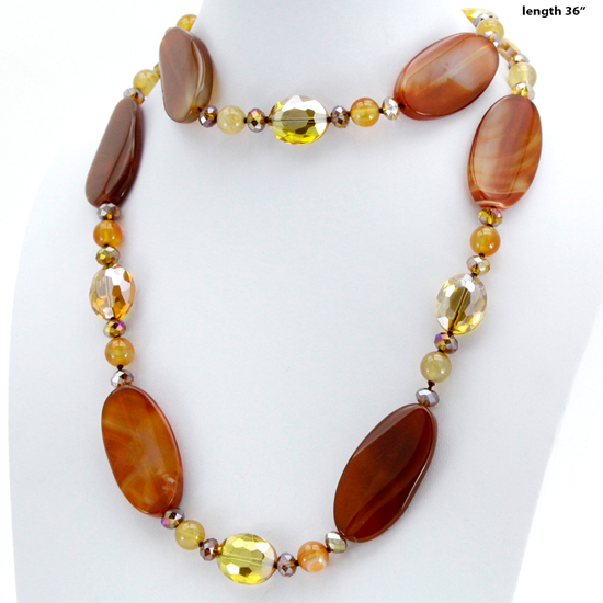 NKL-09-BROWN - WHOLESALE GENUINE CRYSTAL AND GLASS NECKLACE SET