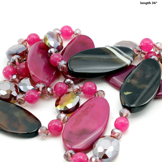 NKL-09-FUCHSIA - WHOLESALE GENUINE CRYSTAL AND GLASS NECKLACE SET
