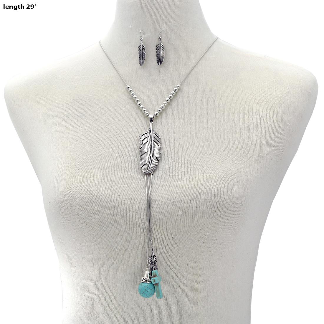 Turquoise Stone Necklace Set - 73729-2PC-Set WHOLESALE GENUINE TURQ STONE NECKLACE