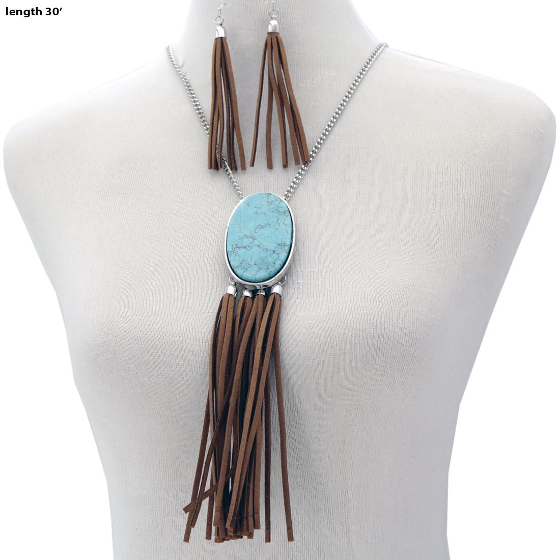 Turquoise Stone Necklace Set - 73741-2PC-Set WHOLESALE GENUINE TURQ STONE NECKLACE