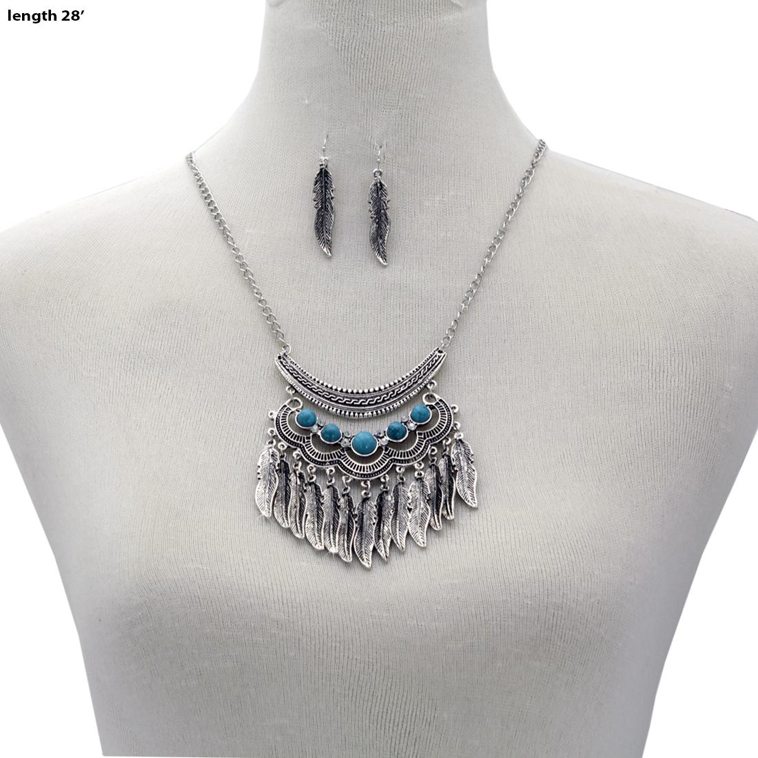 Turquoise Stone Necklace Set - 730770-2PC-Set WHOLESALE GENUINE TURQ STONE NECKLACE