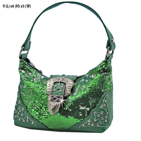 NSQ25W10-GREEN - KIDS RHINESTONE BUCKLE HANDBAGS