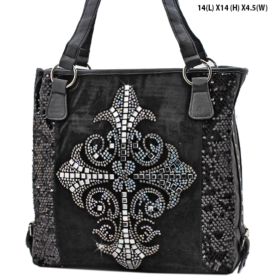 NEW-Q-57-LCR-BLACK - RHINESTONE CRYSTAL CROSS HANDBAGS