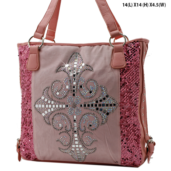 NEW-Q-57-LCR-PINK - RHINESTONE CRYSTAL CROSS HANDBAGS