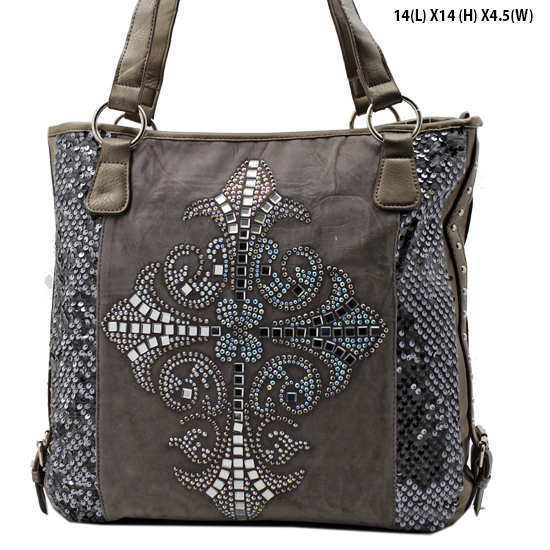 NEW-Q-57-LCR-PEWTER - RHINESTONE CRYSTAL CROSS HANDBAGS