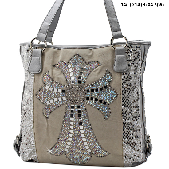 NEW-Q-57-LCR-SILVER - RHINESTONE CRYSTAL CROSS HANDBAGS