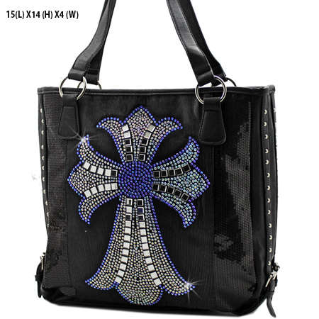 NSQ-57-LCR-BK-BLUE - RHINESTONE CRYSTAL CROSS HANDBAGS