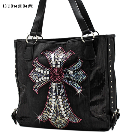 NSQ-57-LCR-BK-HTPK - RHINESTONE CRYSTAL CROSS HANDBAGS