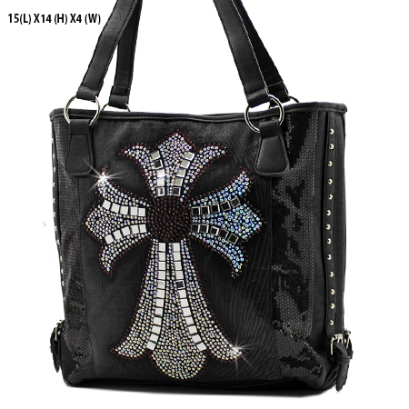 NSQ-57-LCR-BK-PUR - RHINESTONE CRYSTAL CROSS HANDBAGS