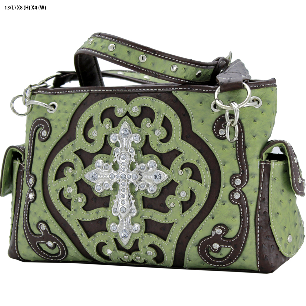 Rhinestone Cross Purses - OST-93-GREEN Western Concealed Carry Weapon Faith Hope Love Purses