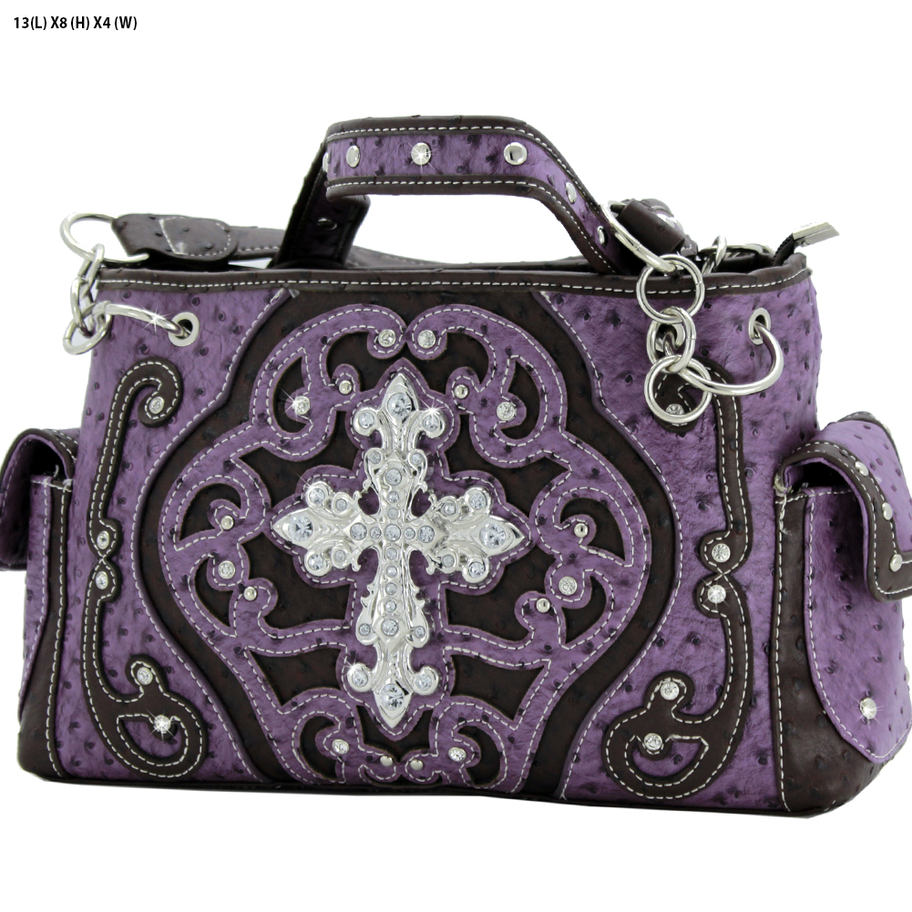 Rhinestone Cross Purses - OST-93-PURPLE Western Concealed Carry Weapon Faith Hope Love Purses