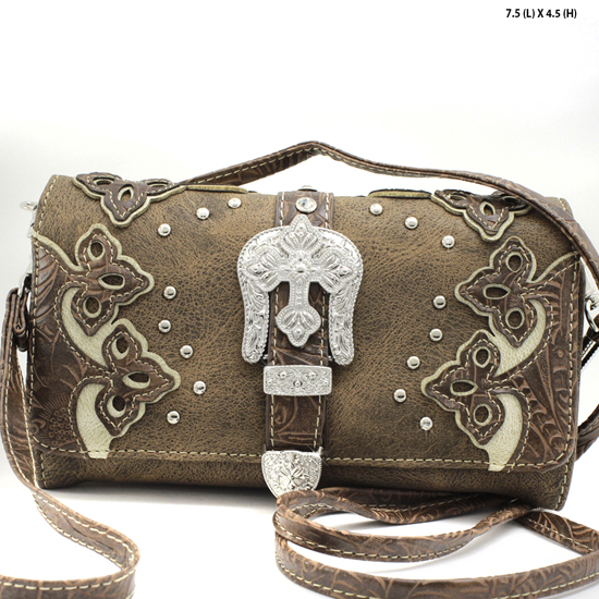 BKLE-2066-W28-BROWN - WHOLESALE WESTERN WALLETS HIPSTER CROSS BODY STYLE