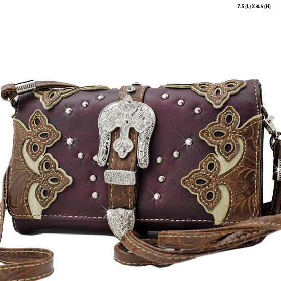 2066-W28-D-PUR/CREAM - WHOLESALE WESTERN WALLETS HIPSTER CROSS BODY STYLE