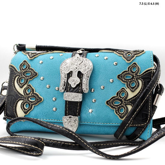 2066-W28-TURQ/CREAM - WHOLESALE WESTERN WALLETS HIPSTER CROSS BODY STYLE