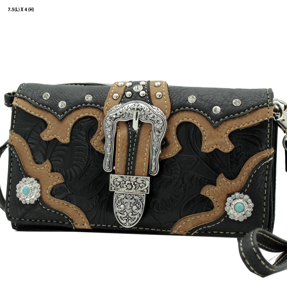 BKL-2066-W80-BLACK - BKL-2066-W80-BLACK WHOLESALE WESTERN WALLETS HIPSTER CROSS BODY STYLE