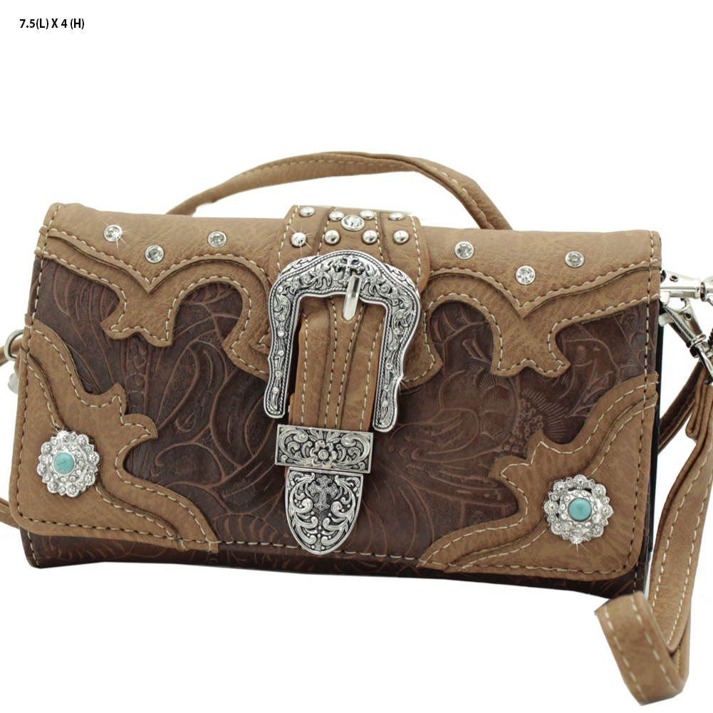 BKL-2066-W80-BROWN - BKL-2066-W80-BROWN WHOLESALE WESTERN WALLETS HIPSTER CROSS BODY STYLE