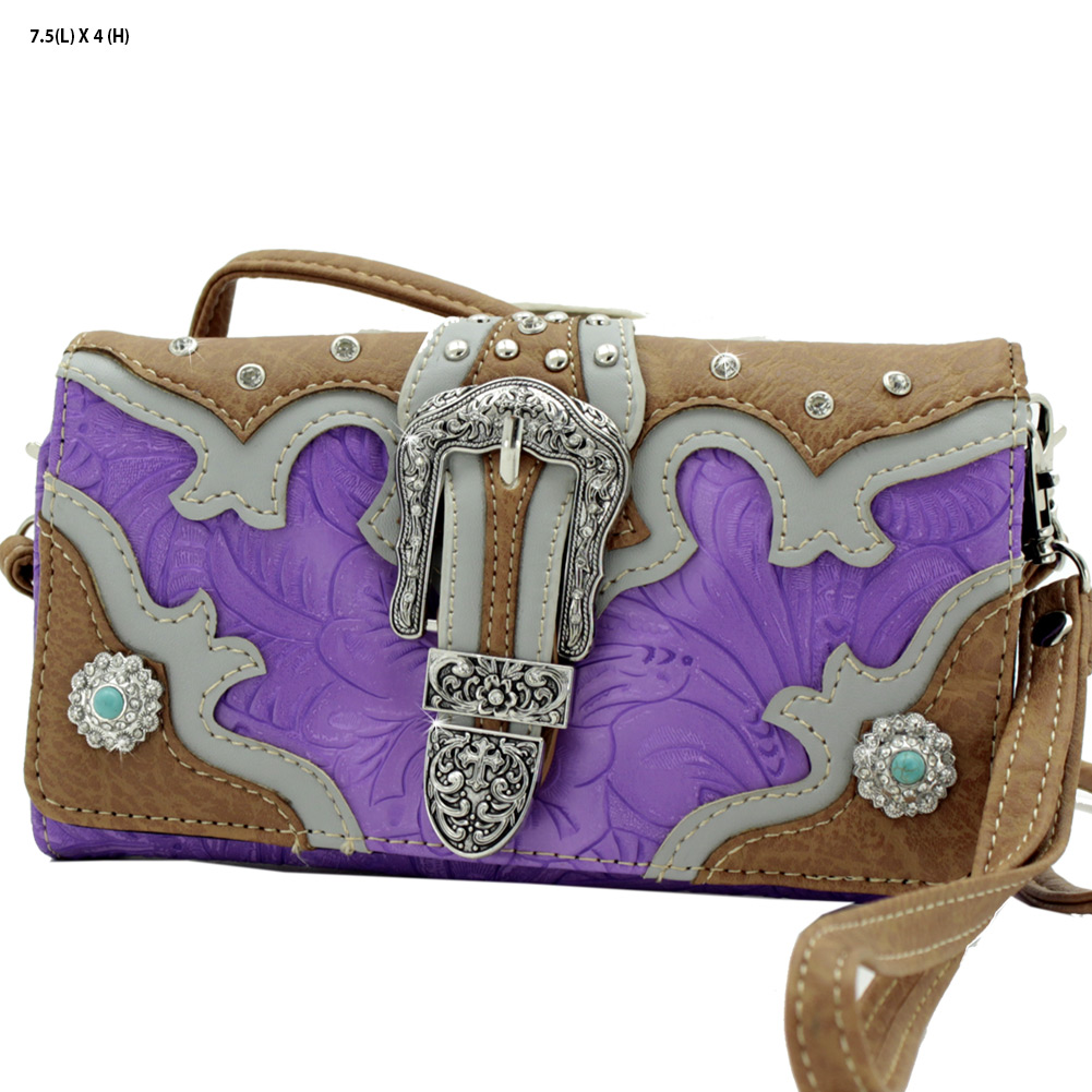 BKL-2066-W80-PURPLE - BKL-2066-W80-PURPLE WHOLESALE WESTERN WALLETS HIPSTER CROSS BODY STYLE