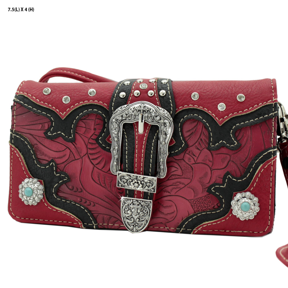 BKL-2066-W80-RED - BKL-2066-W80-RED WHOLESALE WESTERN WALLETS HIPSTER CROSS BODY STYLE